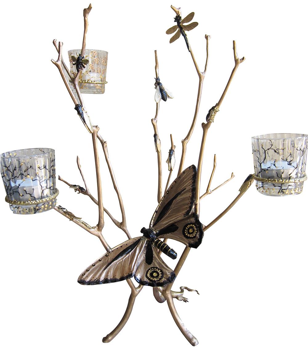 Photophore-Saturnia-doré-Bronze-et-verre-peint